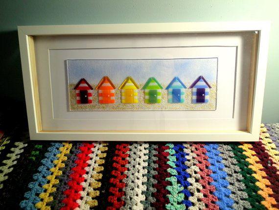 Fused Glass Beach Hut Art Rainbow Glass Nautical Beach Theme