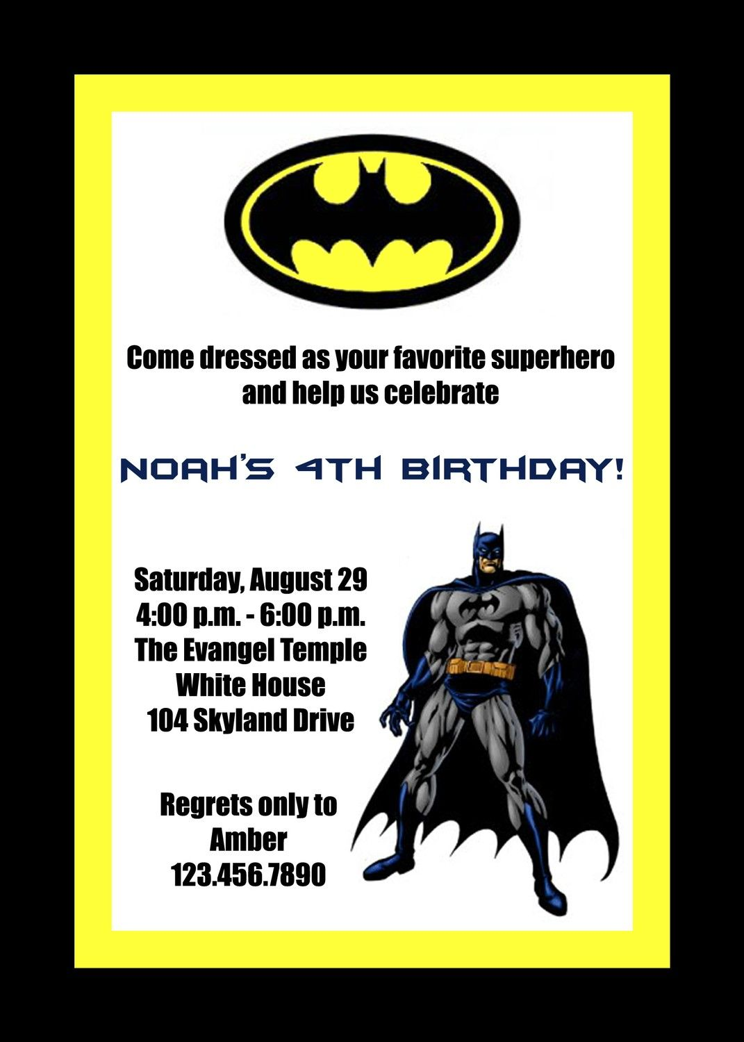 Custom Printable Batman Birthday Party Invitation. $15.00, via Etsy ...