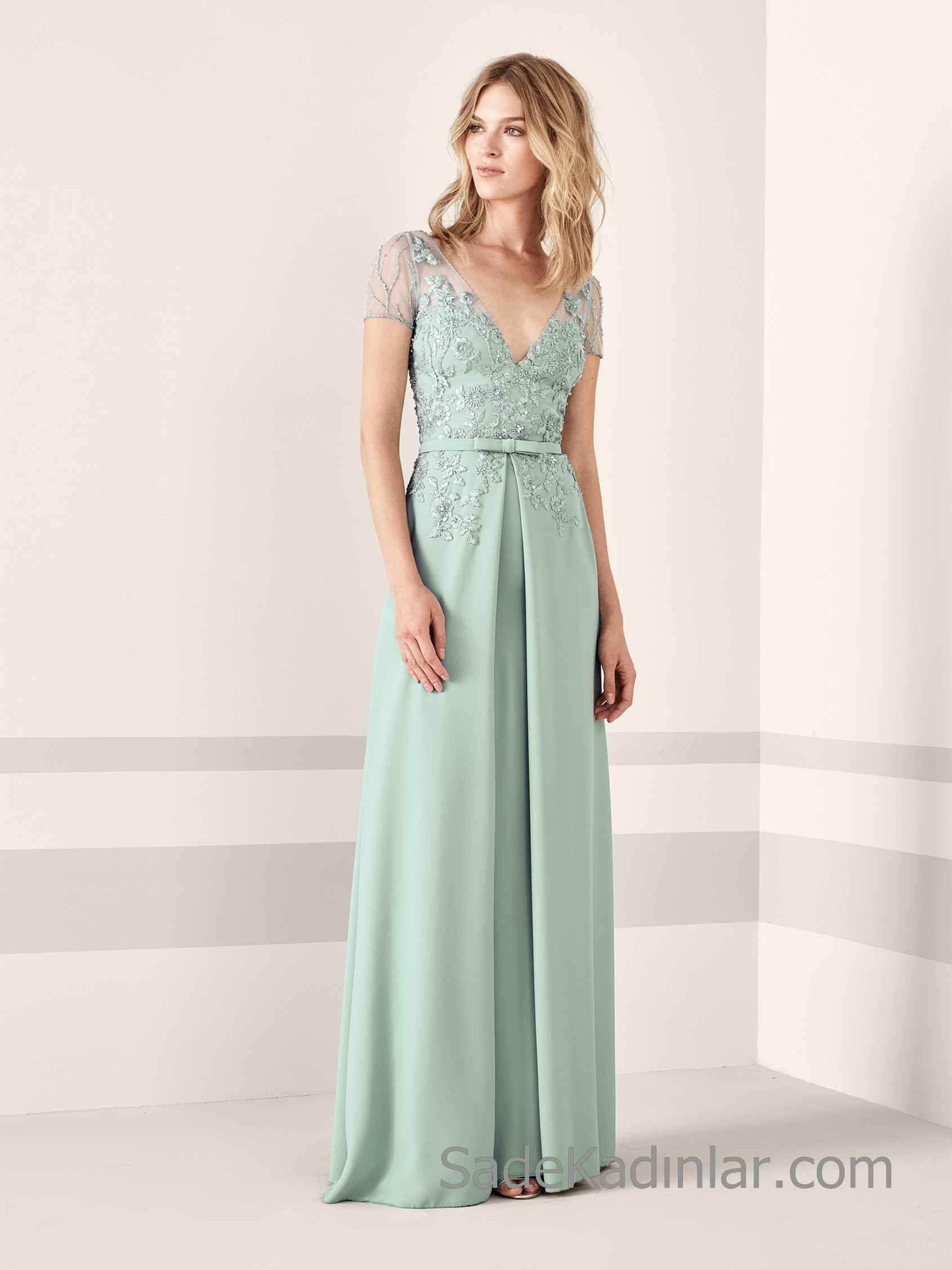 Pronovias 2020 Abiye Elbise Modelleri Yesil Uzun Kisa Kollu V Yakali Transparan Detayli Boncuk Islemeli Aksamustu Giysileri Kisa Etekli Elbiseler Elbise Modelleri