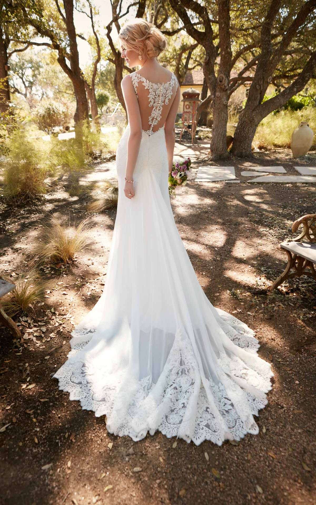 b8622f16b228 This chiffon sheath dress from Essense of Australia radiates romantic  glamour. It features a gorgeous butterfly back and a corded-lace train.