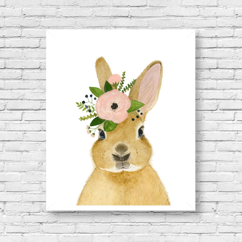 Watercolor Rabbit Ii Rabbit Painting Woodland Nursery Animal