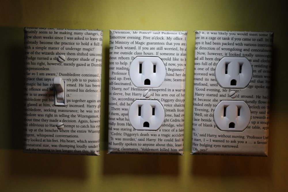Harry Potter text 3pc Light Switch Cover set book home room decor Order Phoenix…