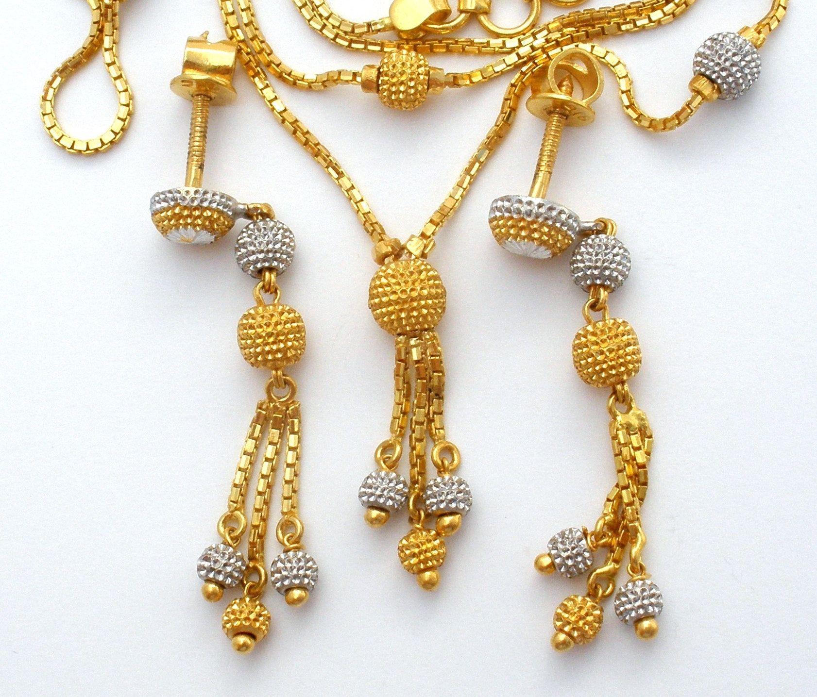 22k Gold Necklace Set Yellow White Gold Bead Necklace Earrings