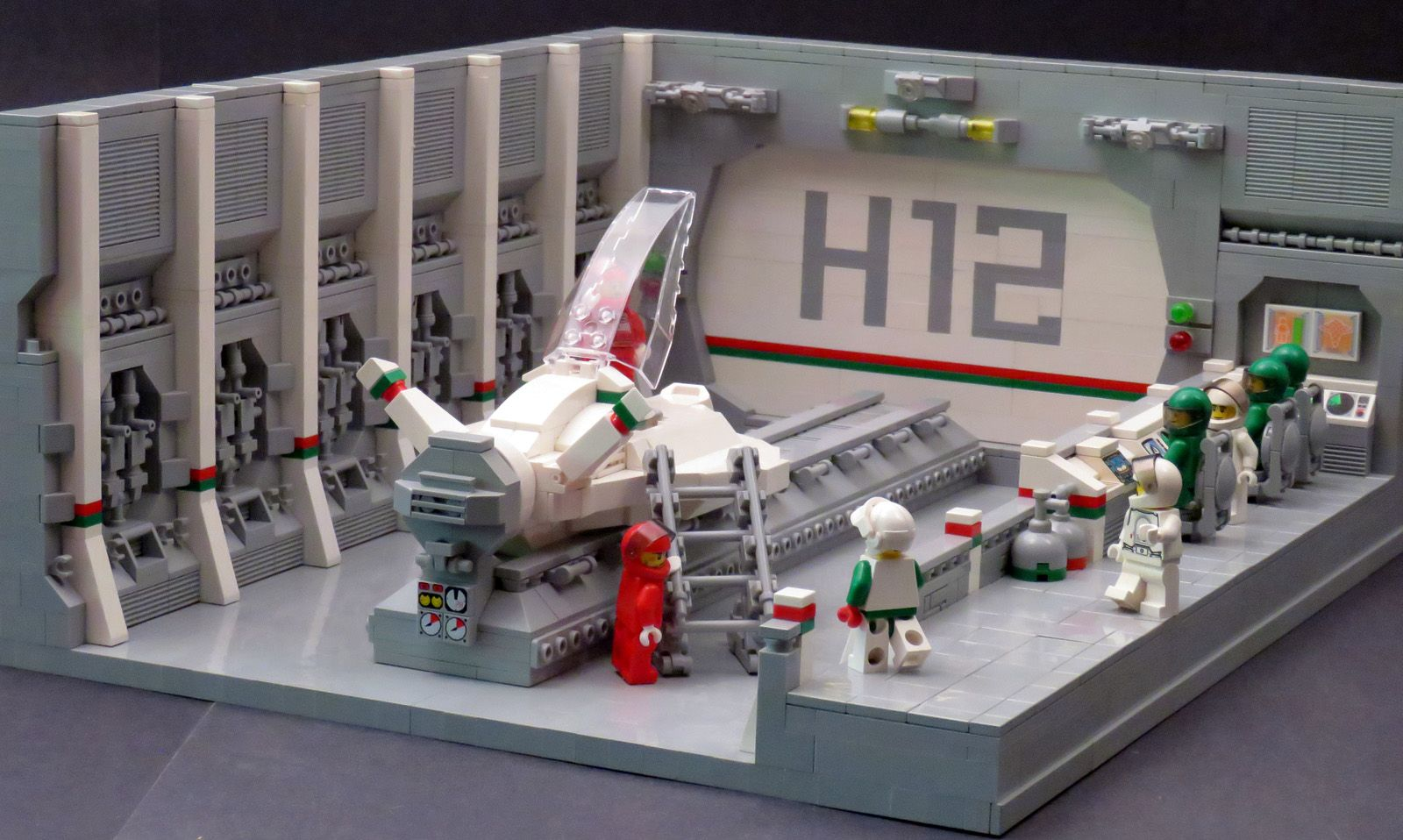 How To Build Stairs In A Small Space Sweet Lego Hangar Not Mine Though Lego Spaceship