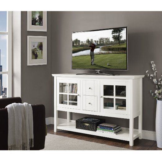 We Furniture Wood Console Table Tv Stand 52 White Tv Stand Wood Wood Console Table Wood Console