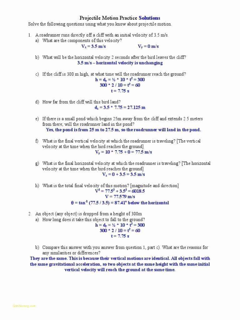 Motion Graphs Worksheet Answer Key Elegant Projectile ...