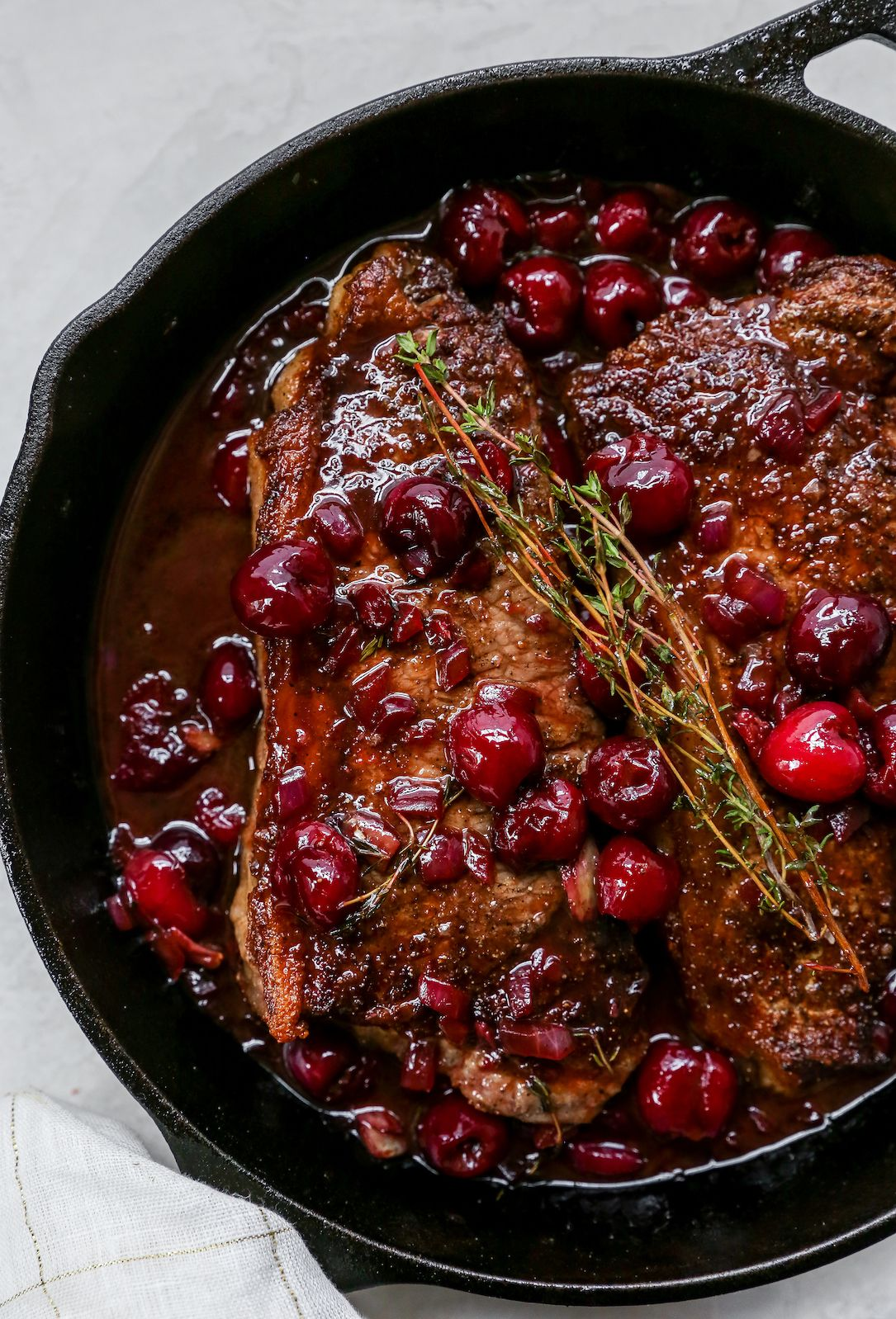 Steaks With Fresh Cherry Sauce Recipe In 2020 Cherry Sauce Fresh Cherries Balsamic Steak