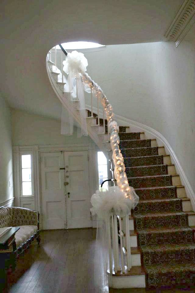 Stair Well Decorated For Our Wedding Thanks To My Bridesmaids