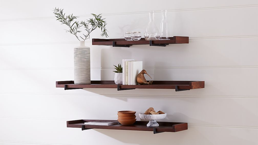 Beckett Wall Shelf Crate And Barrel In 2020 Wall Shelves Gallery Shelves Shelves