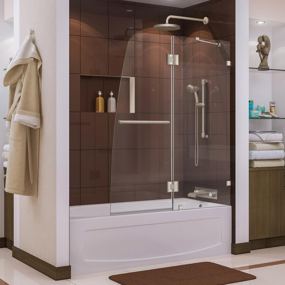 Frameless Pivot Tub Shower Door In Brushed Nickel