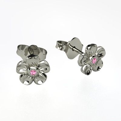 Petite Petal Earrings - Platinum Earrings with Pink Sapphire stone accent - ice.com