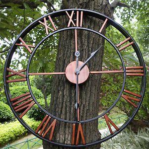 Large Outdoor Garden Wall Clock Big Roman Numerals Giant Open Face Metal 7634h Ebay Outdoor Clock Outdoor Wall Clocks Large Outdoor Wall Clock