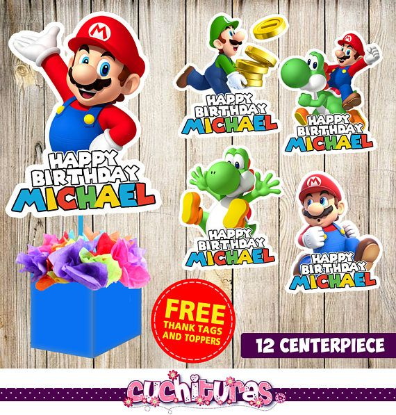 12 Super Mario Bros Centerpieces Super Mario Bros Printable
