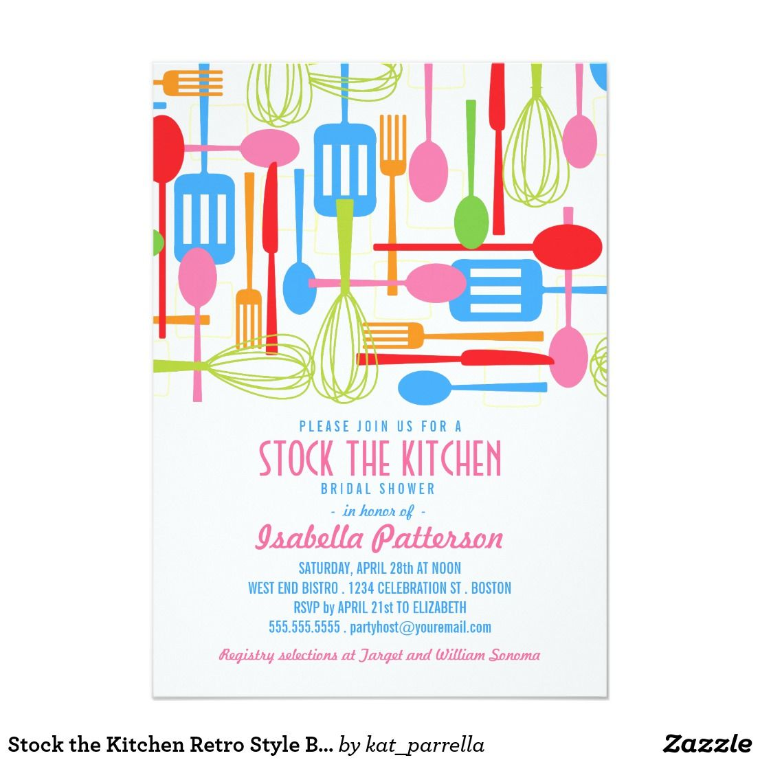 Stock The Kitchen Retro Style Bridal Shower Card Kitchen Retro
