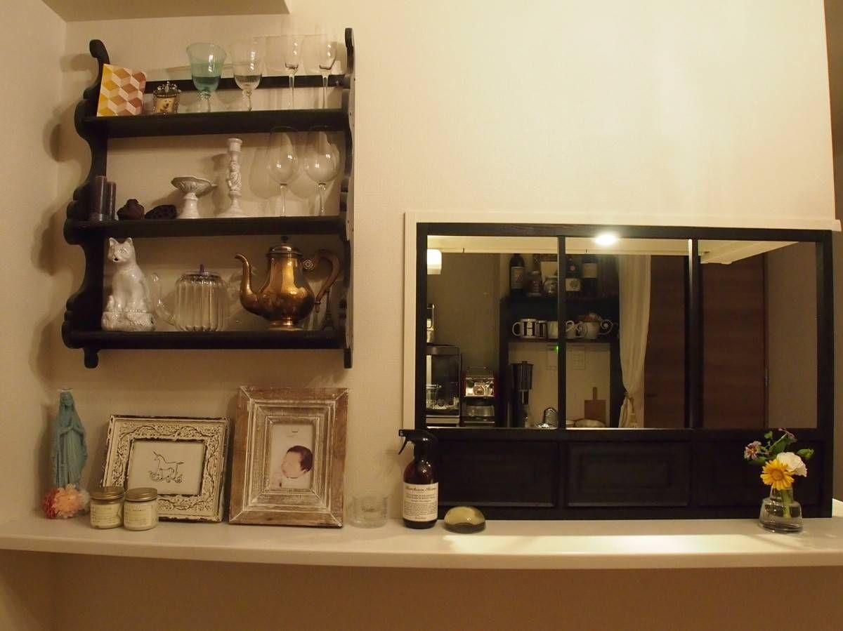 Diy初心者でも簡単 キッチンカウンターに目隠しも兼ねたおしゃれ窓枠の作り方 2020 模様替え キッチンカウンター キッチンカウンター上収納