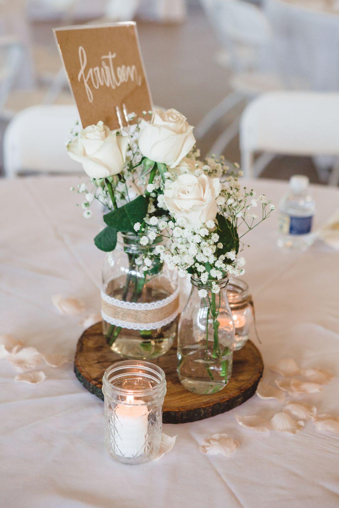 Deco Centre De Table log and mason jar centerpiece   centre de table mariage