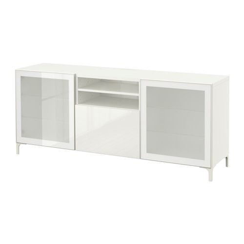"BESTÅ TV unit - white/Selsviken high-gloss/white frosted glass, drawer runner, soft-closing, 70 7/8x15 3/4x29 1/8 "" - IKEA"