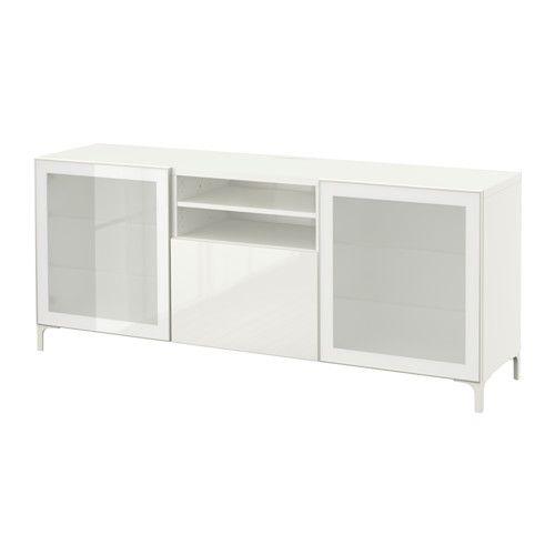 """BESTÅ TV unit - white/Selsviken high-gloss/white frosted glass, drawer runner, soft-closing, 70 7/8x15 3/4x29 1/8 """" - IKEA"""