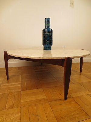 Jens Risom Coffee Table Mid Century Modern Travertine Marble RARE Round  Floating   EBay