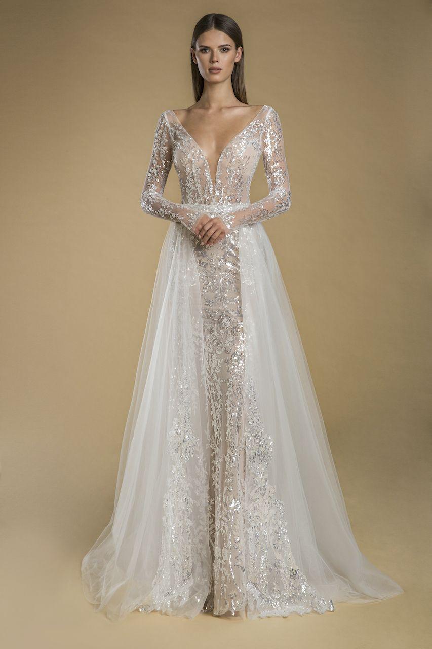 Long Sleeve V Neck Sequin Sheath Wedding Dress Kleinfeld Bridal In 2021 Wedding Dresses Kleinfeld Detachable Train Wedding Dress Wedding Dress Sequin [ 1280 x 853 Pixel ]
