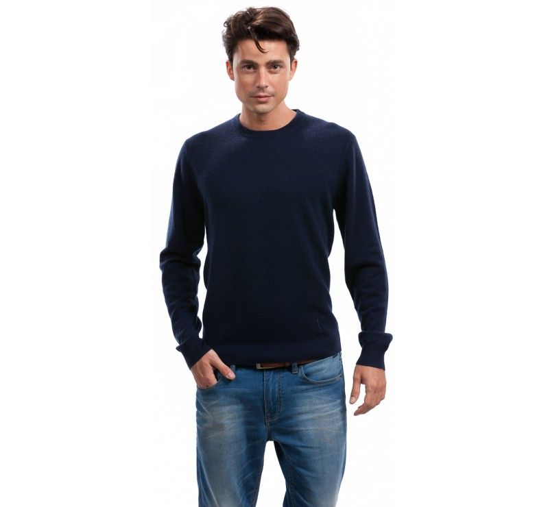 100% Cashmere Men's Crew Neck Sweater in Navy Blue (click for more ...