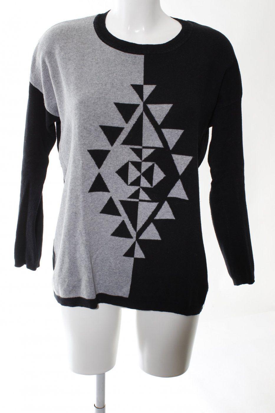 Forever 21 Strickpullover schwarz-hellgrau grafisches Muster Casual-Look | Mädchenflohmarkt