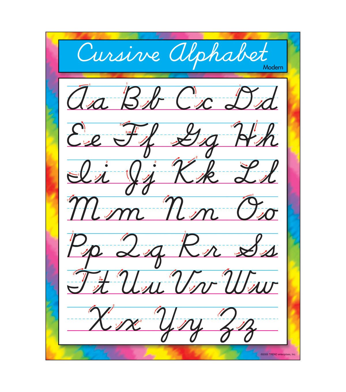 Cursive Alphabet Modern Learning Chart 17 X22 6pk