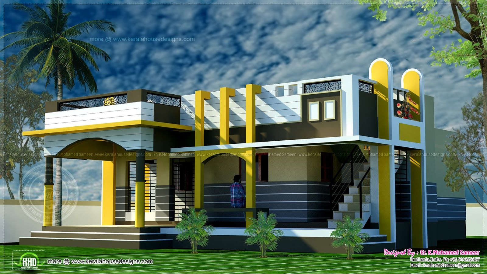 1100 sq-ft contemporary style small house | House Elevation Indian ...