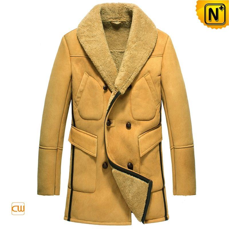Mens Sheepskin Coat >> Flash Shop Cwmalls New York Mens Double Breasted Sheepskin Coat