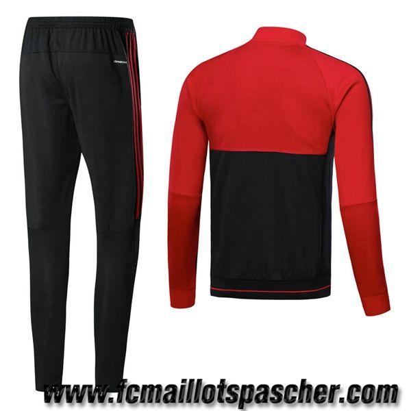 nouveau survetement foot Adidas Homme - Veste Milan AC Rouge/Noir saison  2017 18 Grossiste