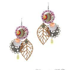 Boucles d'oreille bohème - boucles d'oreille rose, orange marron fait main par milacréa