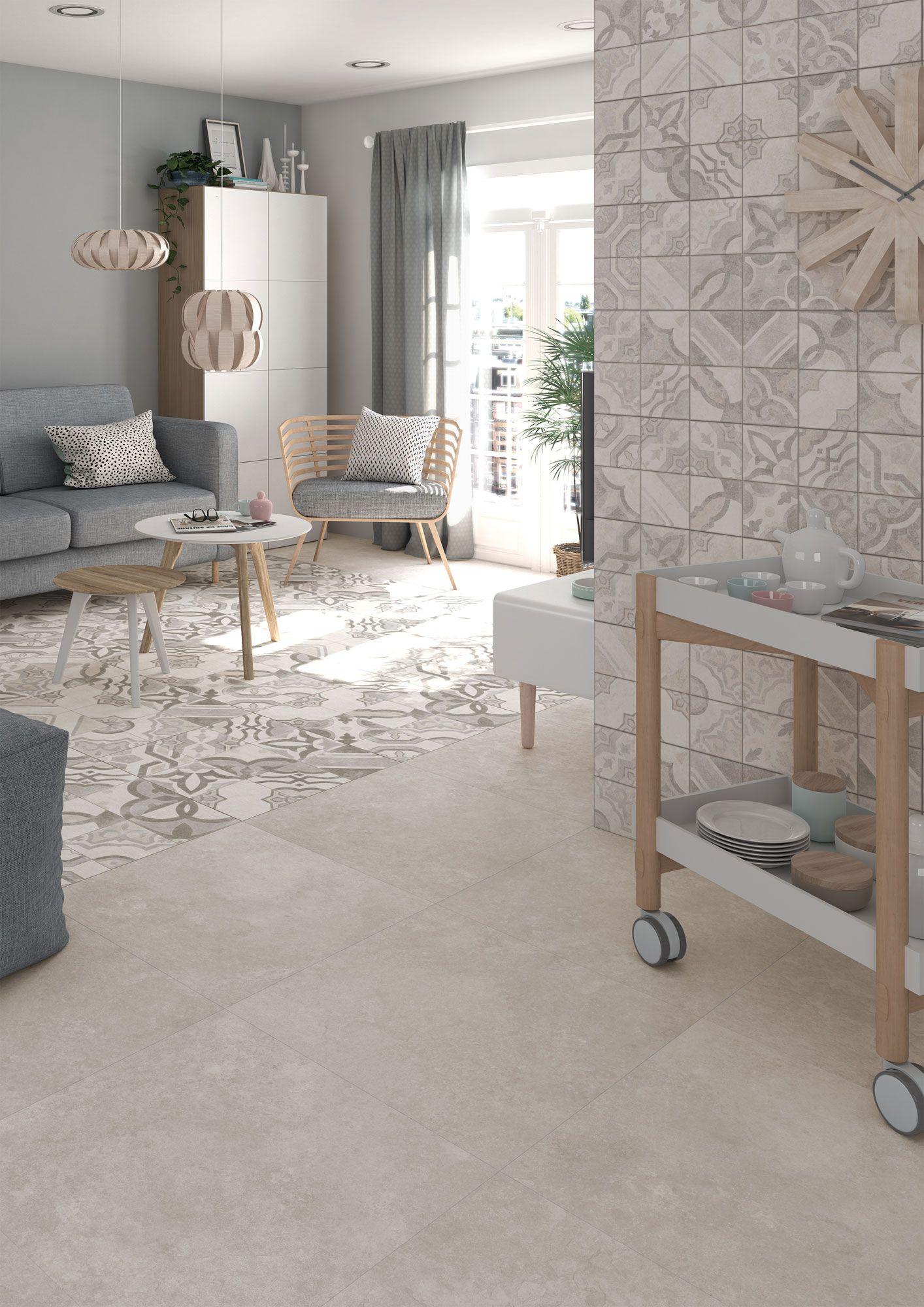 Detalle de salón con suelo y paredes cerámicas. BASIC Delta Gris ...