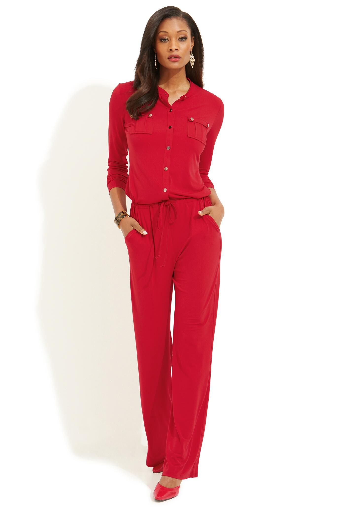 45e05aa7e56 Long Sleeve Jumpsuit in bold   sexy red