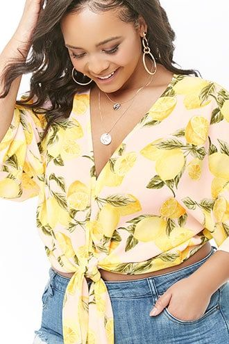 d2314ef42da7cd Plus Size Lemon Garden Print Chiffon Top in 2019 | My Style: Spring ...