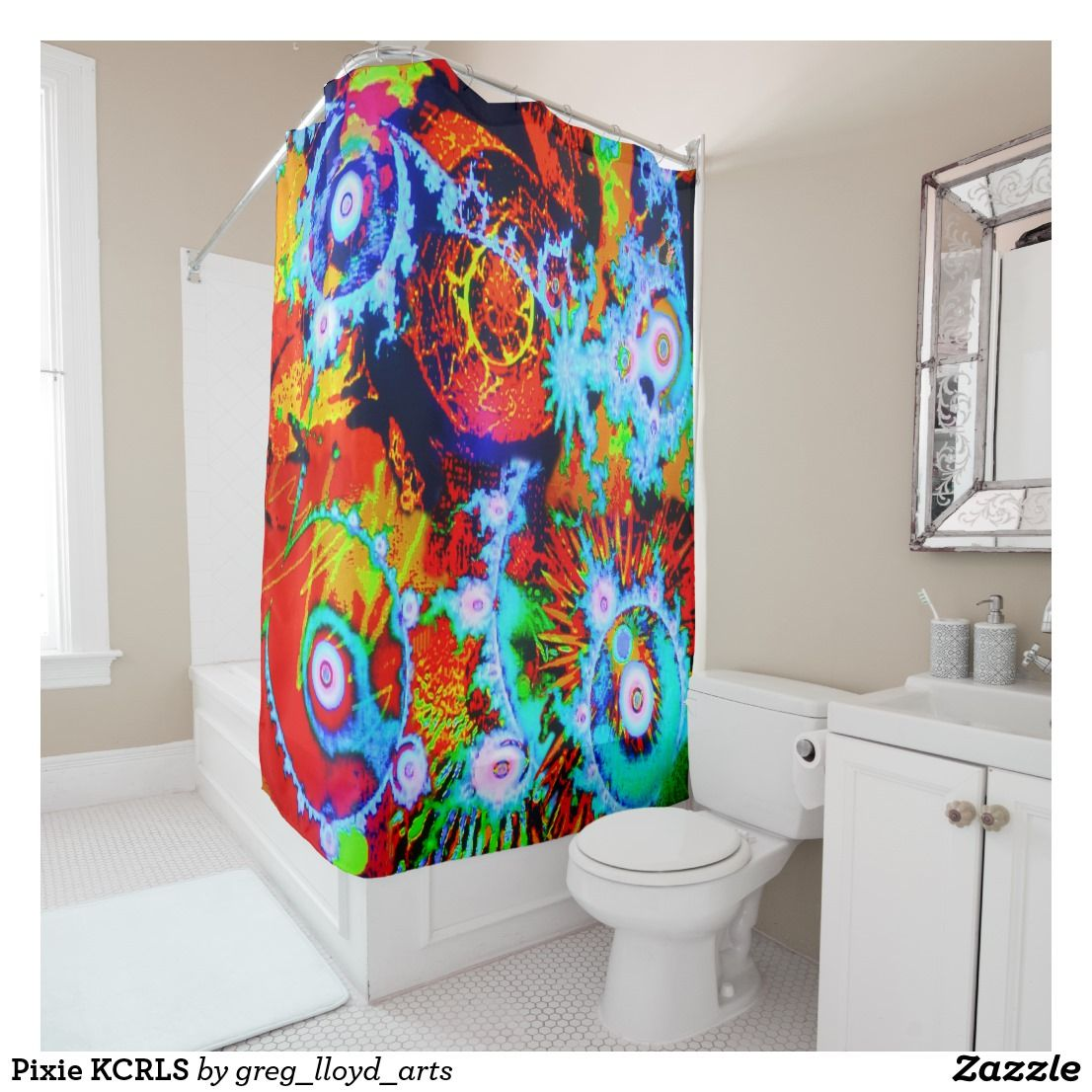 Pixie Kcrls Shower Curtain Zazzle Com Red Shower Curtains