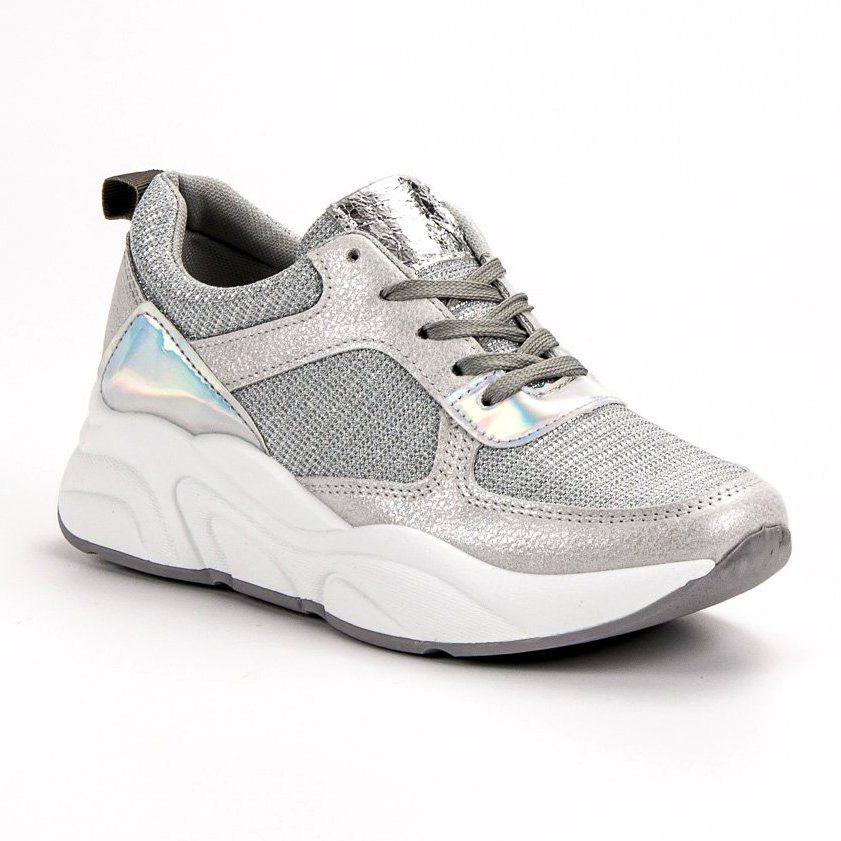 Ideal Shoes Srebrne Buty Sportowe Szare Shoes Sneakers Fashion