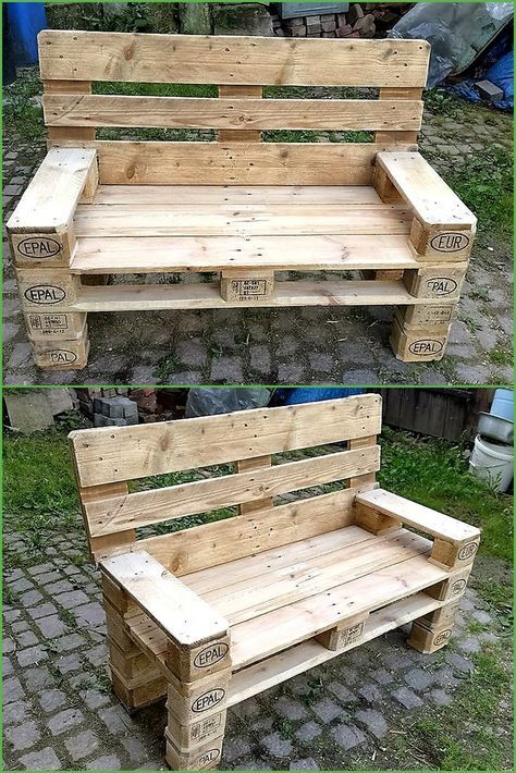 Recycled pallet outdoor bench wood works pinterest for Kommode paletten