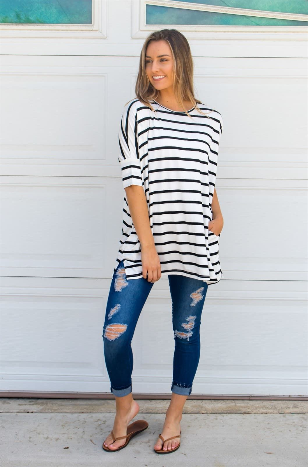 a01a027a192 Stripe Side Pocket Tunic in 2019 | My Style | Fashion dresses ...