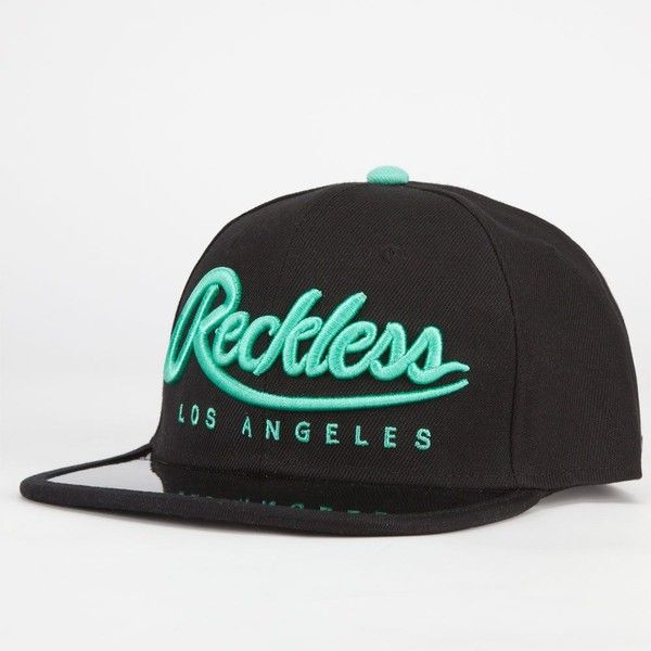 YOUNG & RECKLESS Big R Script Mens Snapback Hat (€24) ❤ liked on Polyvore featuring mens, men's accessories, men's hats and black