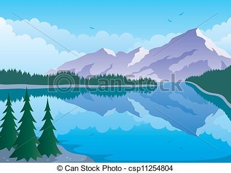 Vector Clipart Of Mountain Lake Illustrated Landscape Of Mountain And Lake Csp11254804 Search Landscape Illustration Mountain Images Mountain Paintings