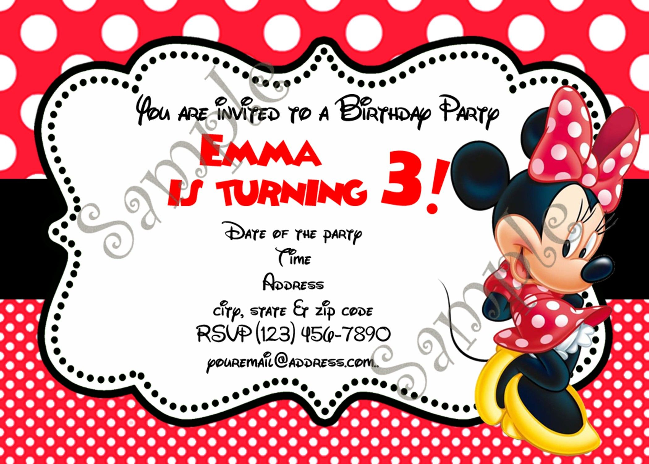 Minnie Mouse Birthday Invitation, FREE thank you card | Minnie mouse ...