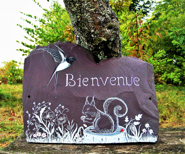 Decoration De Jardin En Ardoise Plaque De Maison Panneau Pancarte Artisanat By Creation Troglodyte Decorat Decoration Jardin Decoration Terrasse Jardins