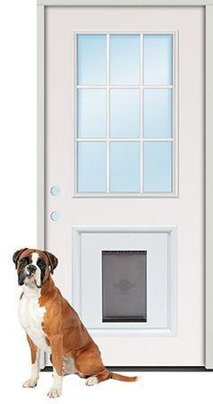 3 0 Quot 9 Lite Steel Prehung Door Unit With Pet Door Insert