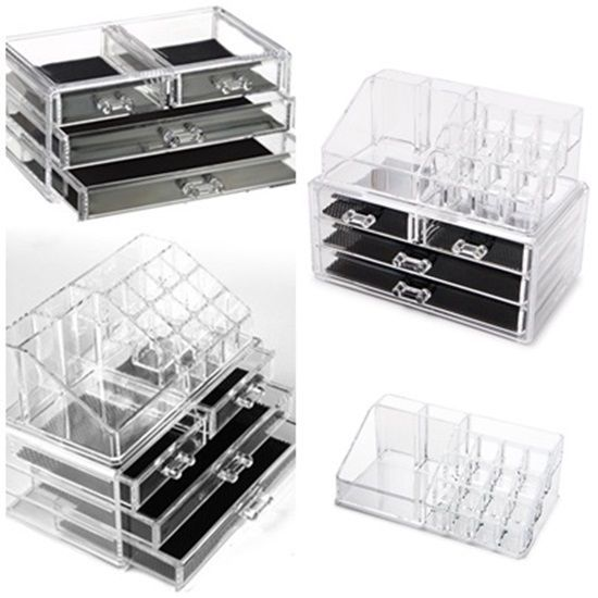 Acrylic Makeup Jewelry Organizers Box Drawers Cosmetic Tidy Bedroom