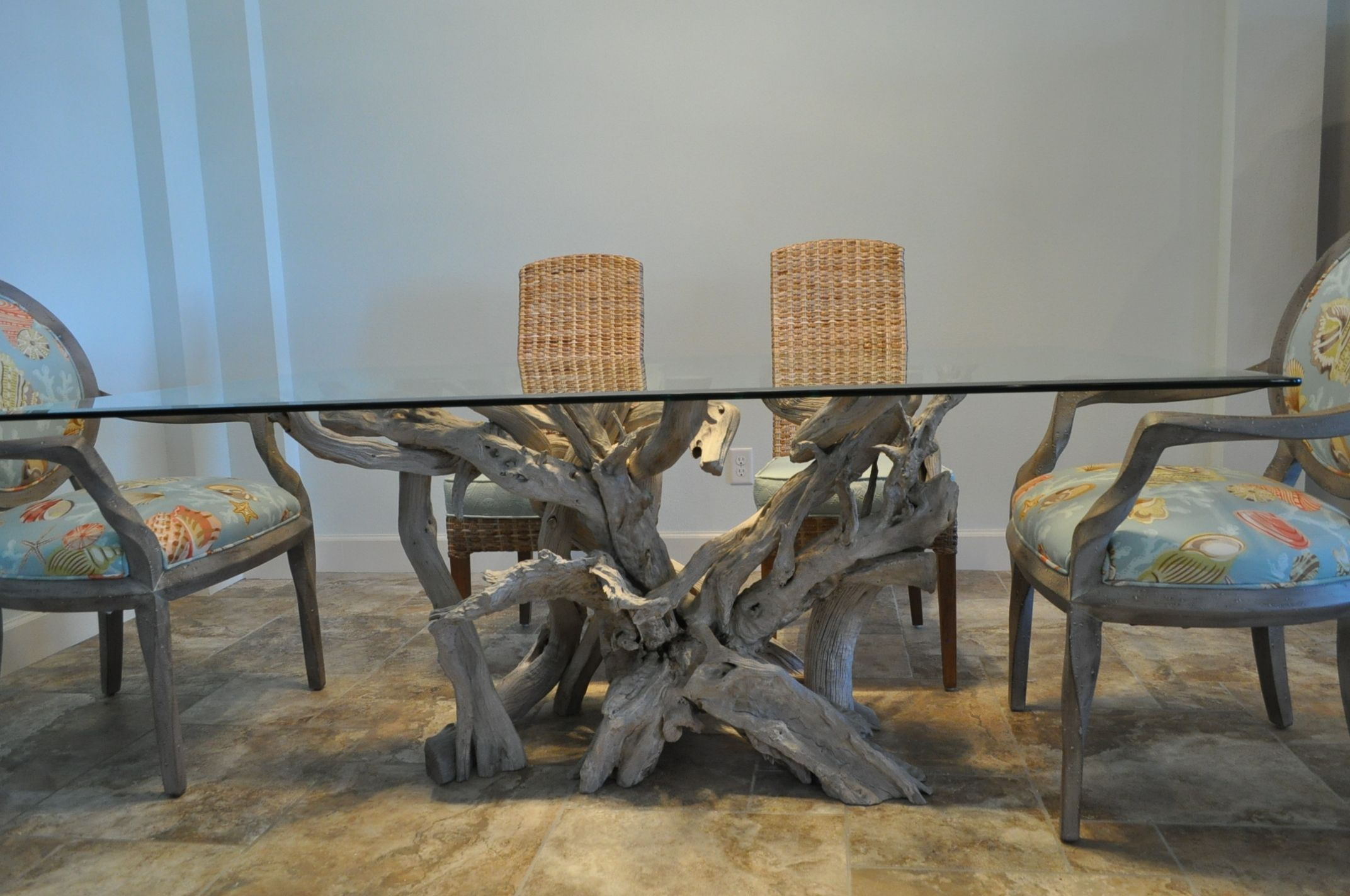 Charmant Driftwood And Glass Dining Table