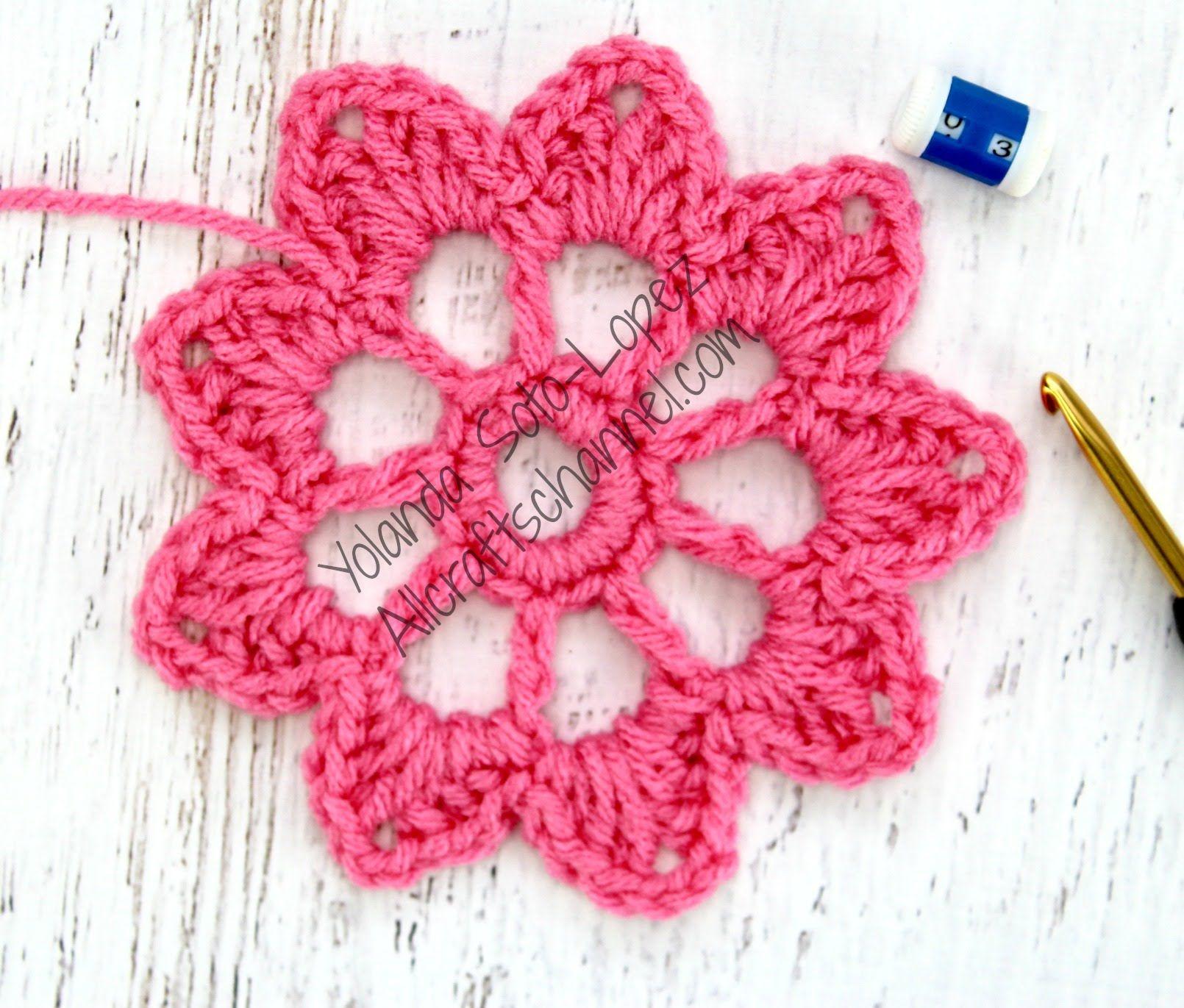 Aprenda a tejer esta flor en crochet. Puede usar cualquier tamano de ...