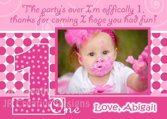 1st birthday thank you everything one girl pink thank you 1st birthday girl invite birthday girl invitation everything one girl invite everything one birthday party 1 girl baby pink invite dots stopboris Image collections
