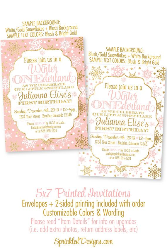 Winter ONEderland Invitation Girl 1st Birthday Invitations - Blush ...