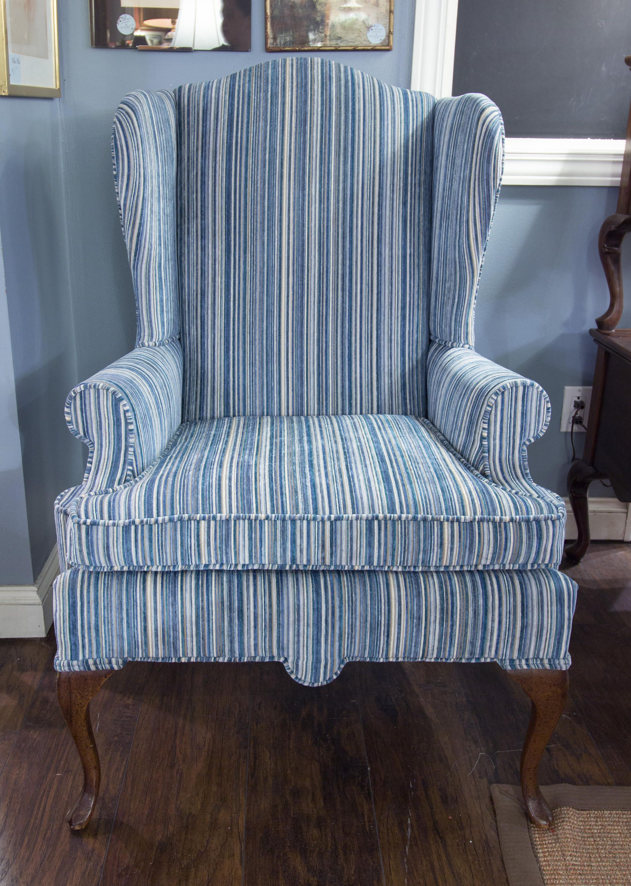 Blue And White Striped Wingback Chair Reupholstered Vintage