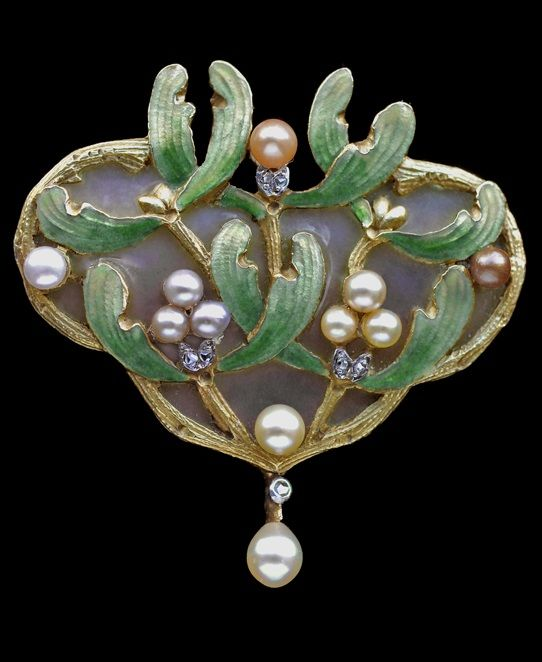 Albert Chambin Art Nouveau Mistletoe Brooch Pendant. Gold Plique-à-jour enamel, Pearl, Diamond, Enamel. Brooch & pin with maker's mark AC with a clover leaf. Pin & brooch with Eagle's head. Numbered, French, c.1900.